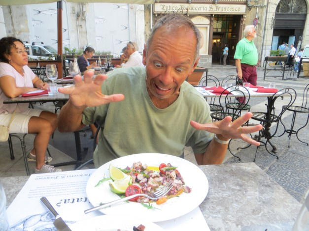 I've eaten more octopus while here in the Mediterranean than you could imagine. Here you'll see Mark caught me having a conversation with my meal.
