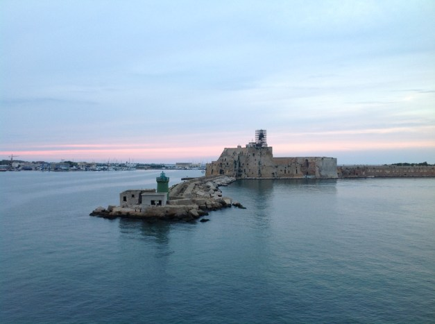 Arriving in Brindisi harbor for our first glance of Italy