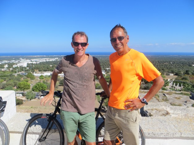 Mark and me in the town of Ostuni, overlooking the Adriatic. You learn eventually that Romans and Italians built their towns on hills, which means you have to climb up there. The views are worth it.