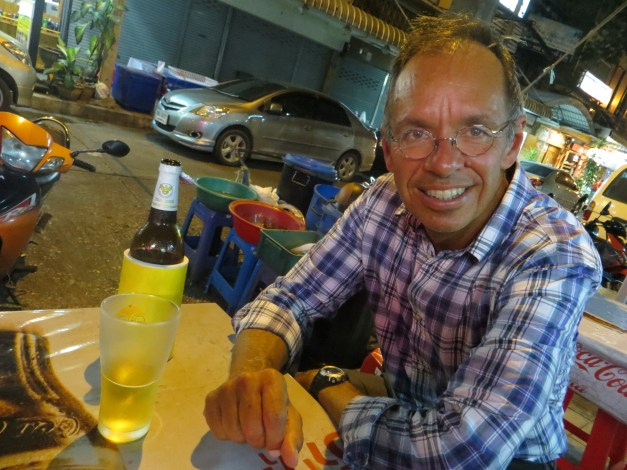 Jim savors our first dining adventure in Bangkok