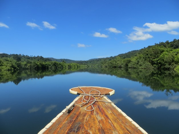 Plying the river toward our wonderful riverside tent near  Koh Kong, Cambodia