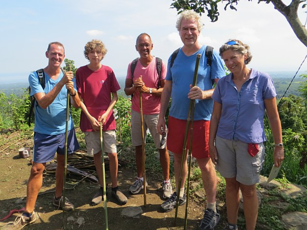 Mark, Wil, Jim, Bart, and Ann on a hike through rice paddies