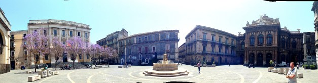 Panorama of one lovely square, and yes, those are jacarandas off to the left and that's me off to the right