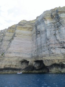 We went out on a boat to see the huge cliffs along Gozo's Dwejra Bay