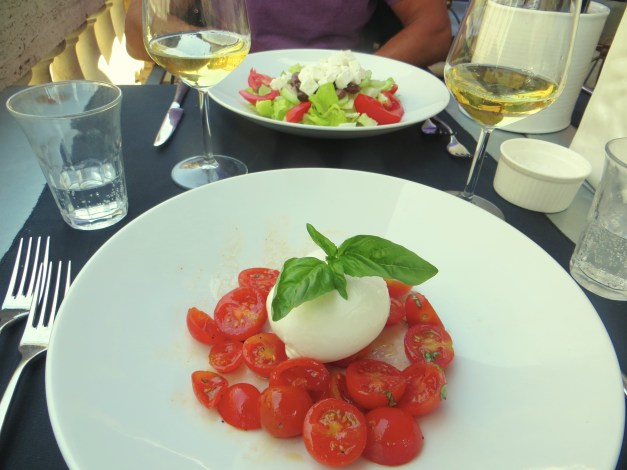 We continue to love the simple and spectacular food of Italy. Tomatoes, fresh mozzarella, basil, and oil makes for a perfect first course (with a glass of wine, of course).