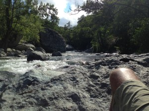 After lunch, this was my reading spot: a rock in the river. Pure, unadulterated heaven.