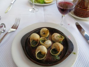 I know we've been in France for a while when I have escargot for an appetizer ...