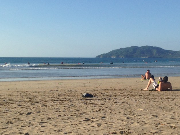 This was the common view at Tamarindo - lots of sun and sand along with a line of novice surfers