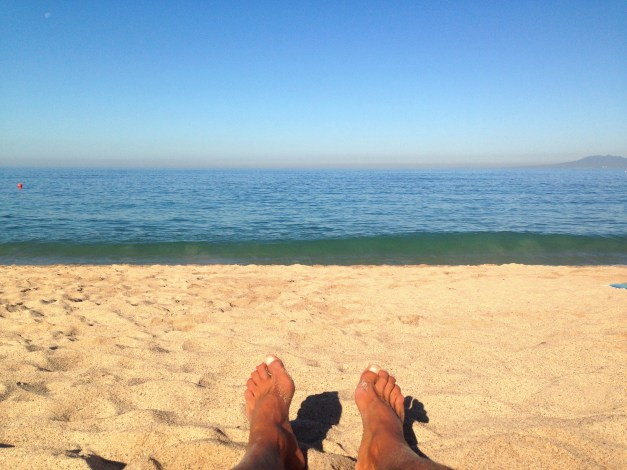 There you are - feet, sand, water. That's really all you need.