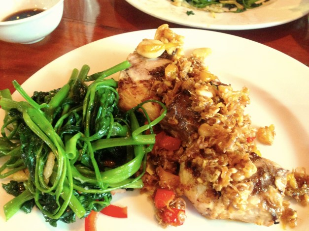 This may have been my favorite meal on the island. The fish is fried in garlic, ginger, and lemon grass and was fresh and fabulous. And pretty much any meal you have can be accompanied by morning glory sautéed in more garlic. Yum!