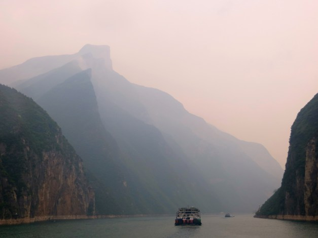 Going through the first gorge. That highest, pointed peak is the image on the back side of a 10 yuan bill.