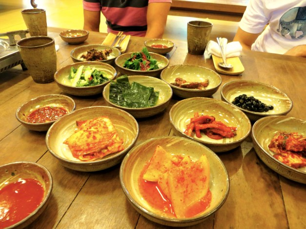 We have definitely been getting into Korean food. We don't exactly understand it or know what to expect, but in most cases you order … something … and they bring many, many small dishes to go with it. It's spicy and sometimes a little weird tasting, but it's been pretty good so far.
