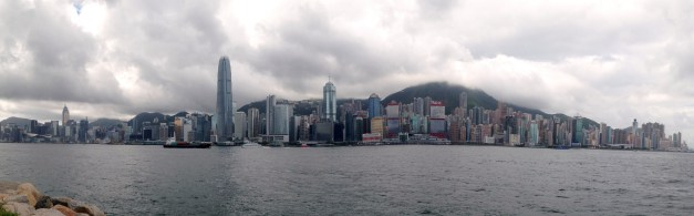 A panoramic shot of Hong Kong from Kowloon