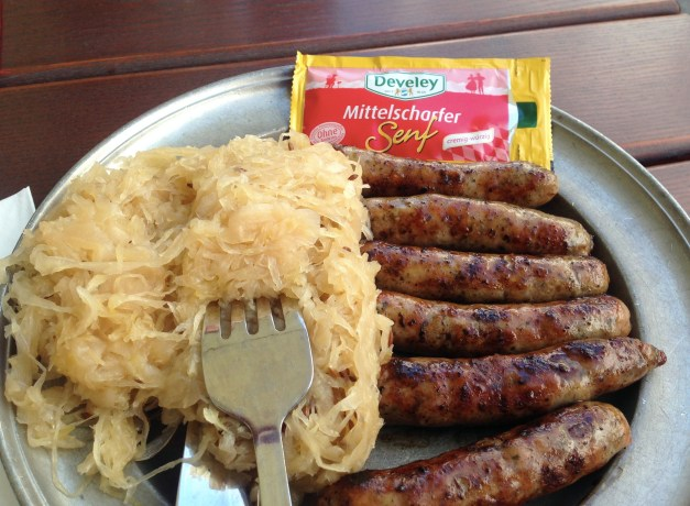 Stomach problems or not, you have to eat sausages and sauerkraut in Germany. Here's our first lunch, a real treat after all that Chinese food.