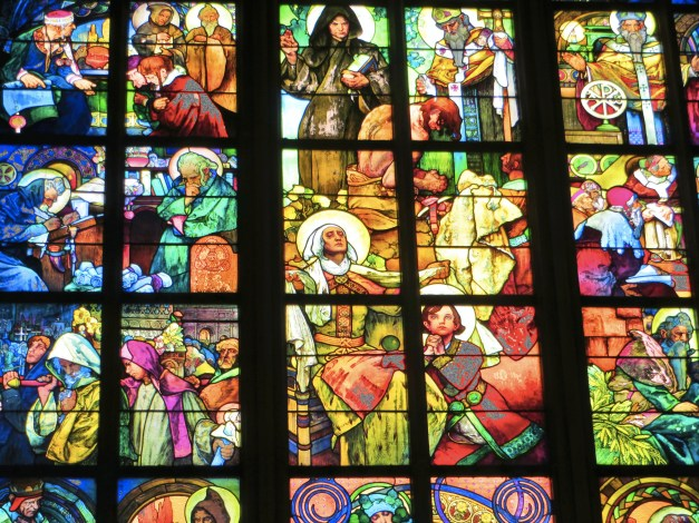 Beautiful stained glass in St. Vitus Cathedral, one of the highlights in the Prague Castle complex