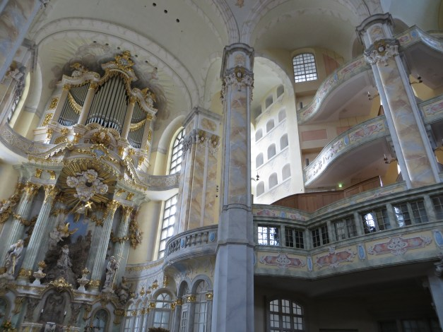 The interior of the baroque Frauenkirche. Finished just 10 years ago, the church was rebuilt to the extent possible with rubble from the old ruins and based on pictures, plans, and memories of the original.