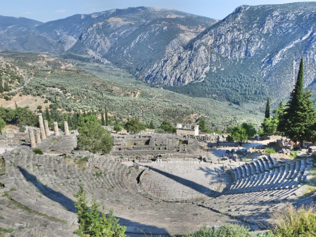 The grand amphitheater, looking over the temple of Apollo and the whole valley. This is where the musical competitions during the Pythian games took place.