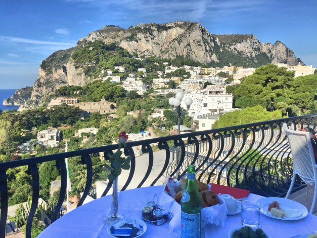 The view up to Monte Solaro from our breakfast room