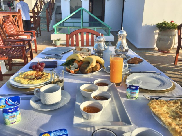The breakfast spread, showing but a fraction of the carbs they would normally serve. We shared lots of time in Tangier with Henry, an engineer from Winnipeg taking a year off to travel, so he's getting the juice and pastries on the table. Oddly, though we spent lots of time with him, we didn't get any pictures. Just his plate there.