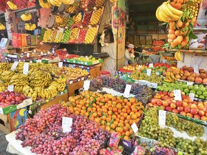 Street markets selling produce