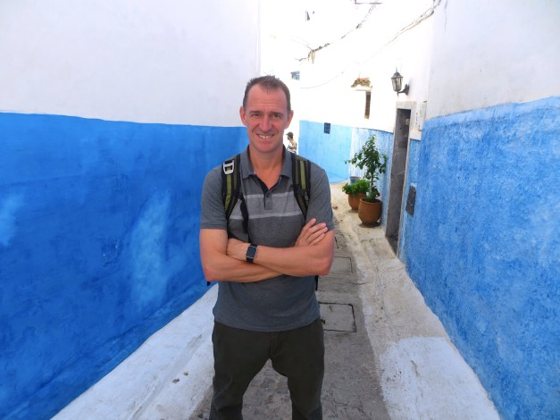 Mark posing in one of the tiny-but-beautiful streets in the Kasbah