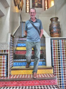Lunch on our one-day stop in Casablanca was up these steps, some of the most colorful steps in the world