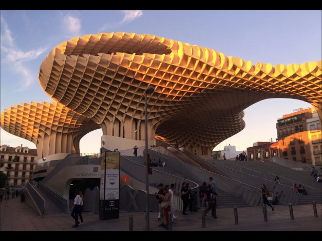 The almost other worldy Metropol Parasol is a wooden structure completed in 2011 at a cost of perhaps 100 million euros, twice what it had originally been estimated at. It claims to be the world's largest wooden structure.