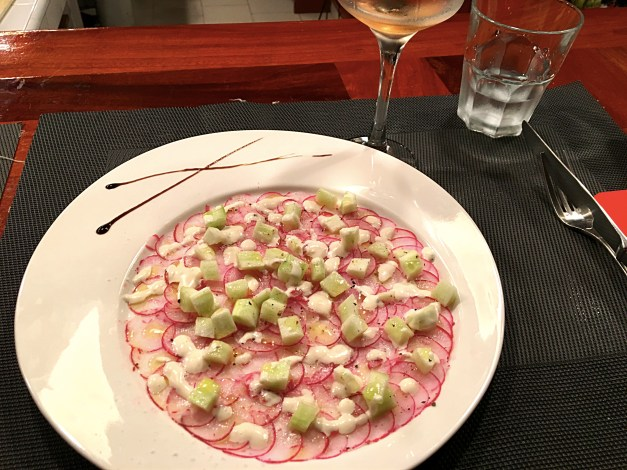 Strangely we didn't take many pictures of the food, maybe because we were always so eager to dive in. This was a radish carpaccio appetizer with cumin that was, like everything else, heavenly.