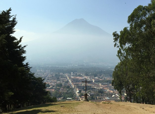 A view of Volcán de Agua, lying south of the city, from a hill on the north of the city. And that's only one of the volcanoes looming over Antigua!