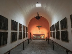 Many of the buildings in the monastery have these great vaulted ceilings. This is part of the art collection on display.