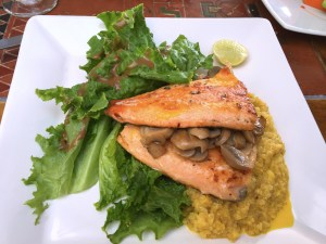 The food here wasn't up to the Peruvian standards we've come to expect, but the local trout from the lake is pretty good. Here it's served on a bed of quinoa, the nutritious and increasingly famous Andean grain.