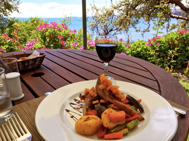 Lunch - typically trout from the lake - was served outdoors with grand views of the gardens and lake far below