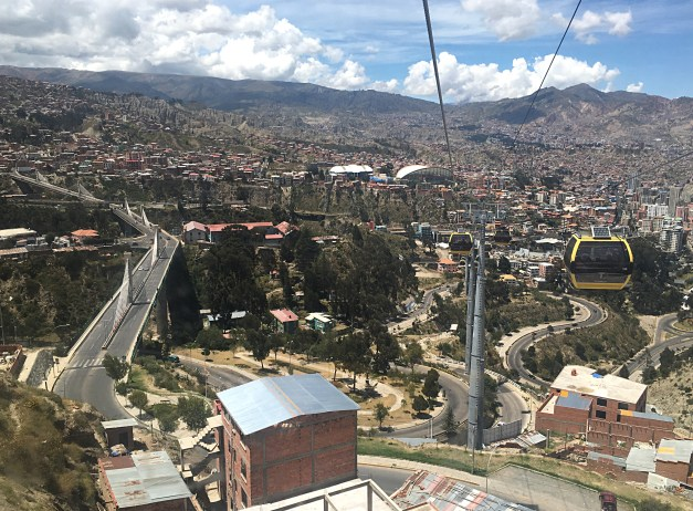 It's nice to fly above the twisted chaotic streets of La Paz in a sleek cable car