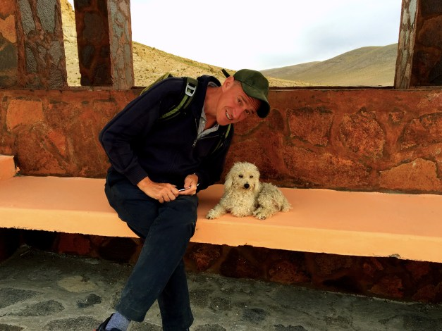Our last day included a stop in what was almost a little ghost town in Chile. Only seven people still live there, but this little doggie sure found a friend!