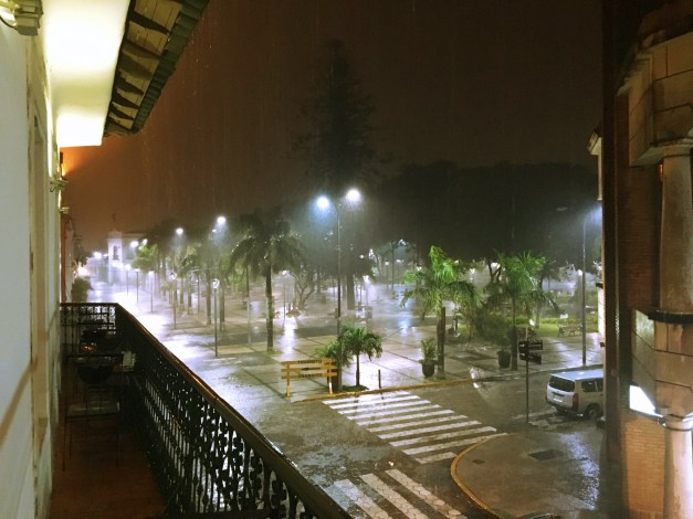 A huge rainstorm hit while we were having dinner on the second floor of a building overlooking the square. This is certainly a tropical climate; we haven't seen rain like this in ages.