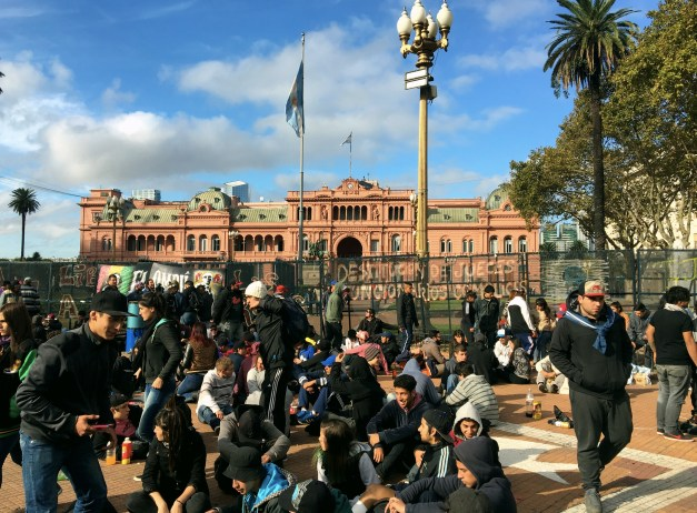 If you're in the city you have to at least go by the Casa Rosada, Argentina's presidential palace. From a distance we thought this must be a political protest but it appeared to be just a bunch of young people hanging out. The smell of marijuana smoke was powerful.