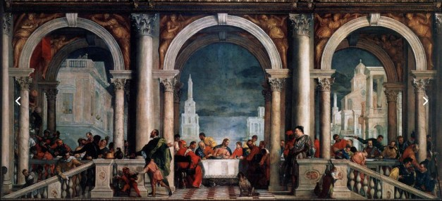 """Veronese's """"Banquet in the House of Levi"""" from 1573. This might look like a Last Supper painting, and Veronese intended it to be just that. But he was called before the Venetian Inquisition because the setting was considered too profane for a Last Supper. Thus he was forced to change the name to represent simply a miracle performed at Levy's. Strange world they lived in."""
