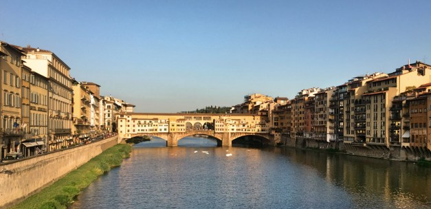 The Ponte Vecchio over the Arno River in evening light