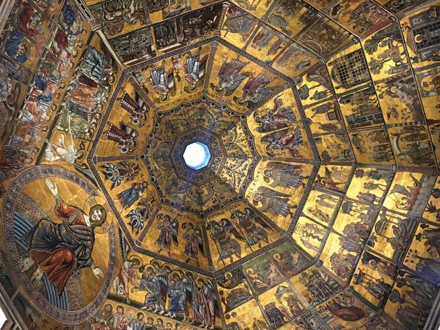 The Baptistry, dating from the early 12th century, is the oldest part of the cathedral complex. This is the ceiling, clearly Byzantine, with no signs yet of the Renaissance to come.