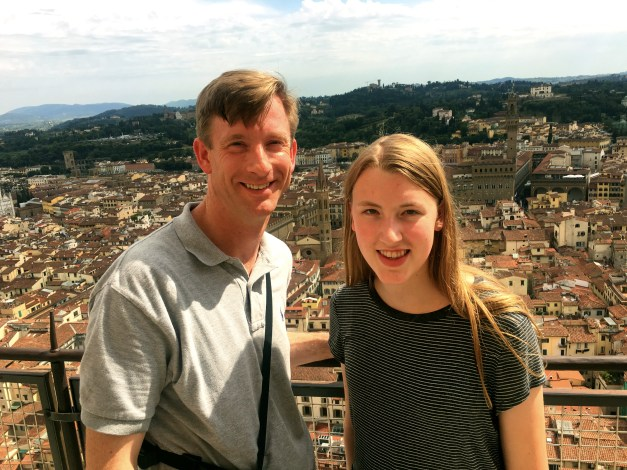 With both the Duomo and the bell tower, there was a lot of climbing to be done. Here are Dan and Elizabeth  far above the city.