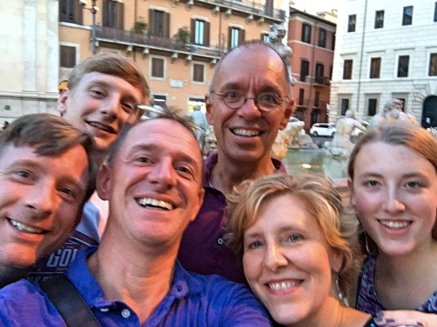 The bunch of us - Dan, Charlie, Mark, Jim, Laura, and Elizabeth - in Piazza Navona
