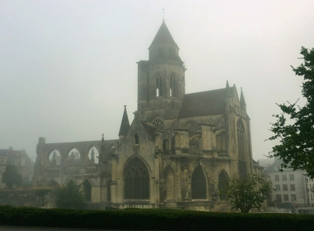 Another church in Caen shrouded in fog. It looks as though the back of the church was bombed out in the Battle of Normandy and was never replaced.