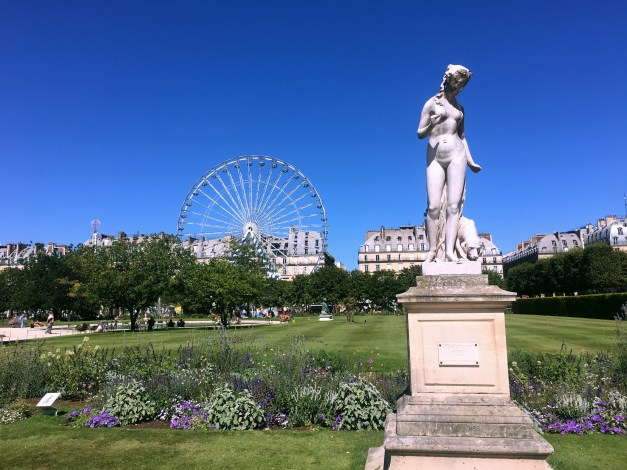 The Tuileries on a sunny day. I wouldn't guess that the ferris wheel is permanent, though it was there in May and just looks great there.