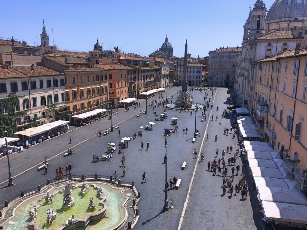 A morning view of the Piazza Navona from our hotel room. In a few hours it would be packed with people but in the morning and evening it was beautiful
