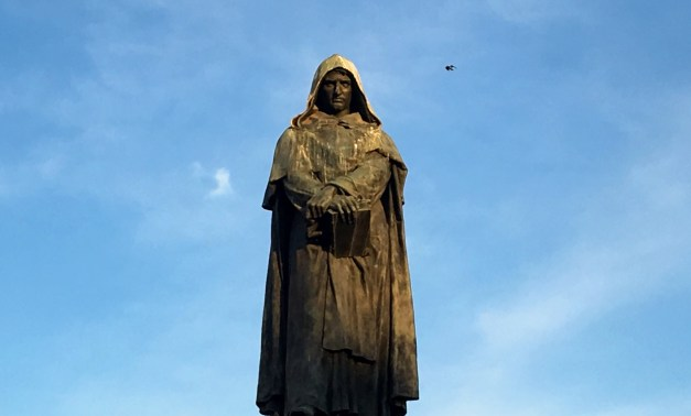 Statue of Giordano Bruno in the Campo de Fiori just south of the Piazza Navona. Every evening we'd meet here for a drink before dinner and admire his gloomy face. He was a most unusual Dominican Friar, since he didn't believe in the Trinity, the virginity of Mary, the divinity of Christ, or transubstantiation. You know, so he was a heretic. Who was burned at the stake but is now considered a martyr to science. Cool guy.