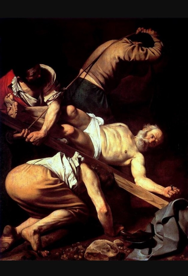 """Caravaggio's """"Crucifixion of St. Peter"""", hanging in the Basilica of Santa Maria del Popolo, is one of many great paintings strewn about churches in Rome"""