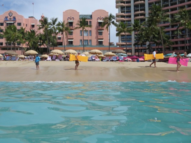 Loved the pinks and blues of our little spot on Waikiki beach