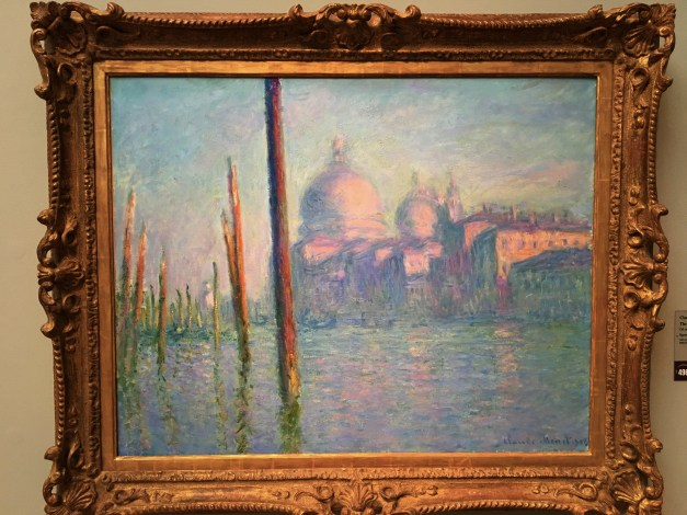 It's been fun to see art from the various places we've been. Here Monet does the entrance to the Grand Canal in Venice.