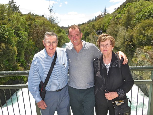 Mark and his parents as we set off across New Zealand