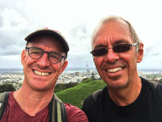 Mark and Jim, high above Auckland on Mt. Eden on our Coast to Coast Walk